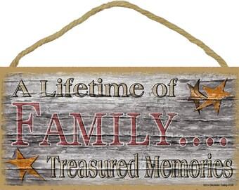 "Stars A Lifetime Of Family Treasured Memories Primitive Rustic Sign 5""X10"""