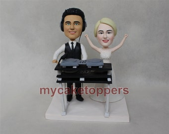 wedding cake toppers bride and groom DJ desk headset custom cake topper