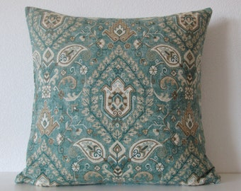 Telesto Blend Sea Green teal green taupe medallion decorative pillow cover