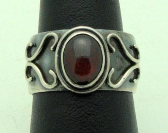 Designer Sterling Silver Ring With Garnet Stone