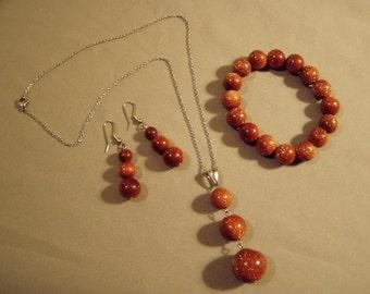Vintage 1980s Gold Stone Bead Pendant Necklace Bracelet Pierced Earrings 3 Pc Set  7325