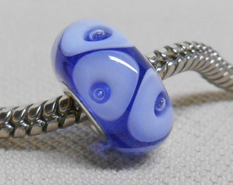 Transparent Blue with Bubble Dots Handmade Lampwork Bead Silver Cored Bead