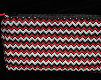 Red and black chevron small cosmetic makeup travel toiletries wash storage bag