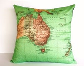 SALE SALE SALE cushion cover, map pillow Australia New Zealand map cushion,  40cm cushion organic cotton cushion cover, pillow, cover, 16 in