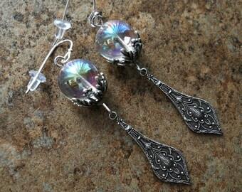 Bubble Earrings in Silver, Bubble Earrings, AB Crystal Earrings, Silver Earrings, Victorian Earrings