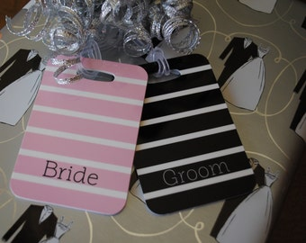 Personalized Luggage tags Bride and Groom set of two choice of colors