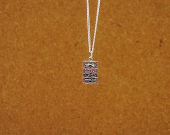 Race Horse Betting Ticket Pendant Sterling Silver with Chain,Equestrian Jewelry,Horse Racing Necklece