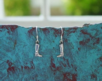 Tiny English Riding Boot Earrings Sterling Silver,Equestrian Jewelry,Horse Earrings