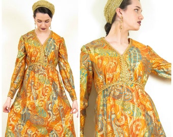 Vintage 60s Dress in Metallic Orange and Gold Print / 1960s Empire Waist Psychedelic Print Dress / Small
