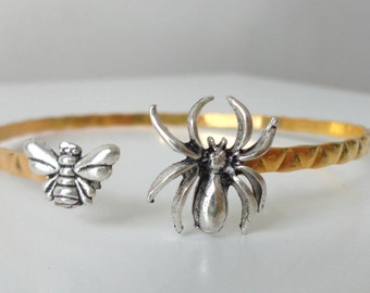 spider bee insect cuff bracelet, wrap style