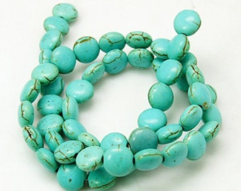 50-55 Beads Synthetic Turquoise, Flat Round 8x5mm, Hole1mm, Full Strand