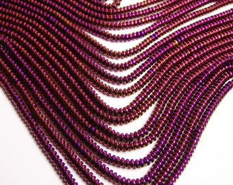 Hematite purple  - 4mm rondelle beads - full strand - 195 beads - A quality  -   PHG118