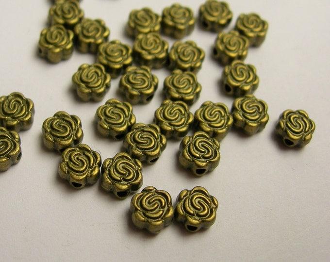 Flower beads - 100 pcs - antique bronze rose flower beads - BAZ111