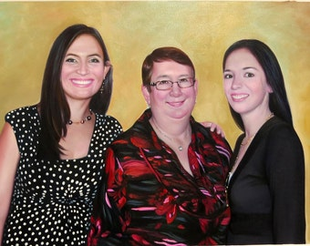 Custom portraits from photo, large oil painting on canvas. 100% money-back guarantee.