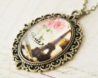Eiffel Tower with Rose Necklace, French Vintage Paris Eiffel Tower Necklace, Oval Paris Eiffel Tower PendantNecklace