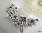 Purple Leaf Pearl Rhinestone Bridal Hair Comb,Pearl Rhinestone Hair Comb,Wedding pearl Hair Comb Ivory or White Pearls,Pearl,Rose,ROSELANI
