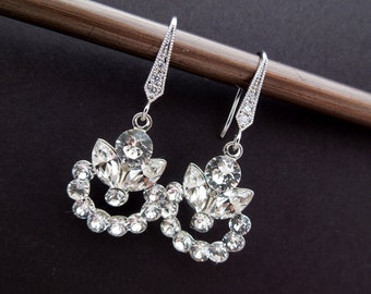 Crystal Swarovski Earrings Bridal Rhinestone Earrings teardrop earrings Statement Bridal Earrings Swarovski Crystal wedding Earrings HEIDI
