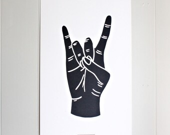 Rock On Large Silk-Screened Print