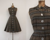 1950s Mocha Latte striped day dress / 50s fit n' flare