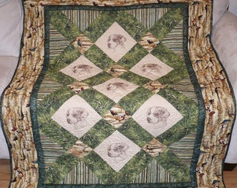 Exquisite Brittany Spaniel with Pheasants Quilt