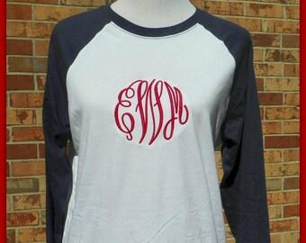 Monogram Raglan Tee - Monogrammed Raglan Shirt - Monogram Baseball Raglan