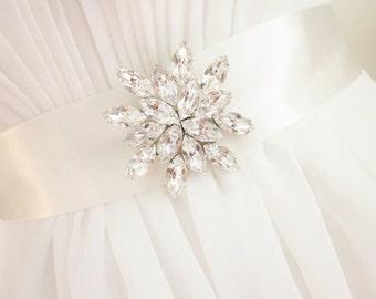 Bridal sash brooch pin, wedding keepsake, Swarovski crystal, appliqué, wedding dress