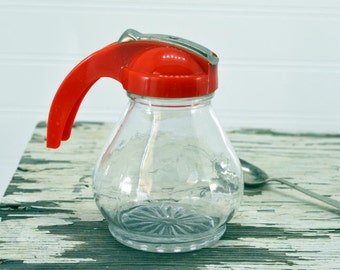 Vintage Glass Syrup Dispenser - retro red plastic handle - Small Pitcher