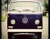 midcentury modern boho blue california beach home decor -  Blue VW Bus -  Fine Art Photography Print