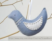 Embroidered Blue Bird, Something Blue for the Bride, Victorian Ornament, Pincushion, Christmas Ornament