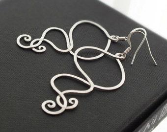Silver Hammered Earrings, Chandelier Earrings, Silver Bubbles, Bubble Earrings, Elegant and Classic Earrings, Also Available in Gold