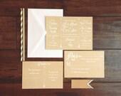 Hipster Bohemian Arrow Wedding Invitation, White Font Arrow Kraft Paper Wedding Invite, White Text on Kraft Paper Vintage Retro Invitation