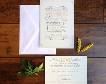 Bohemian Yellow and Grey Wedding Invitation Suite