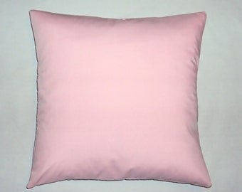 Solid Light Pink Cotton Decorative Pillow Cover - 16 18 and 20 Inch Available