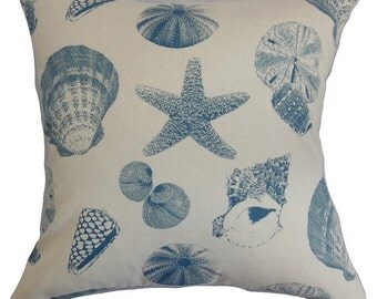 Blue and Cream Sea Shell Print Beach Theme Pillow Cover - Available In 3 Sizes