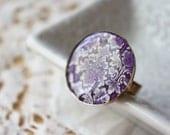 Handmade Ring / Purple Violet Filigree Adjustable / Polymer Clay Resin Jewelry Jewellery