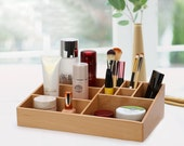 FREE SHIPPING handmade birthday gift beech wood wooden makeup organizer beauty station