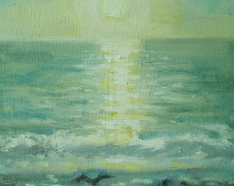 Original Plein Air Oil Painting Ocean Sunset