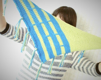 Blue Stripes Knit Scarf with Fringe - Cadet Blue and Spring Green Scarf