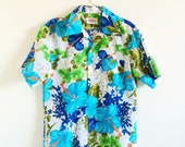 Vintage Mens Hawaiian Shirt- Pomare, Medium, Teal, Hibiscus, Tiki, Retro