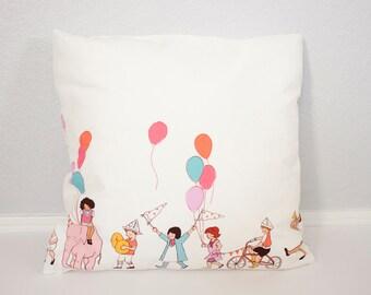 "Throw Pillow - Accent Pillow - Nursery Pillow - Sarah Jane Children At Play - 18"" Pillow"