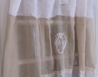 French Style, Custom Embroidery, Sheer White Window Drapery Curtain, Bedroom Panel, Paris Decor
