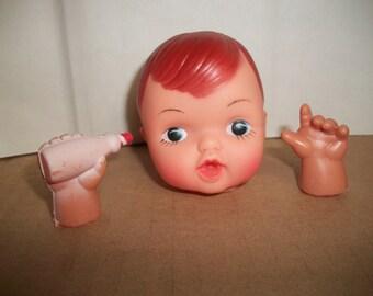 Vintage Soft Plastic Baby Doll Head/Hands Kit