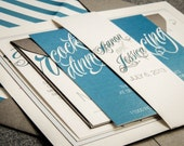 Modern Wedding Invitations, Grey, Teal and Silver Invitations, Winter Wedding, Striped, Sweeping Script - Flat Panel, 2 Layers, v1 - DEPOSIT