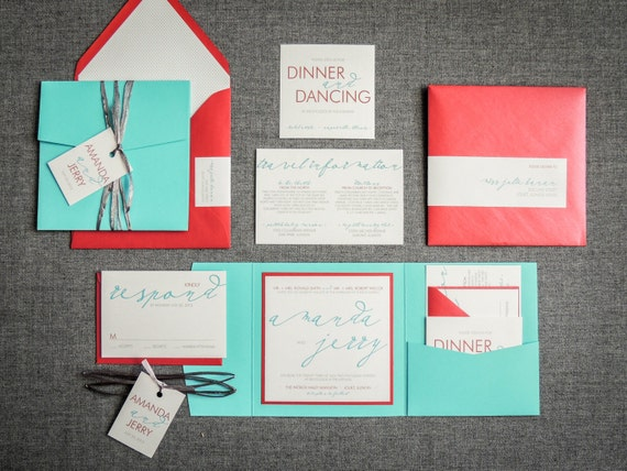 Etsy Beach Wedding Invitations: Turquoise And Red Beach Wedding Invitations By