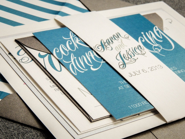 Teal Invitations Wedding: Modern Wedding Invitations Grey Teal And By JulieHananDesign