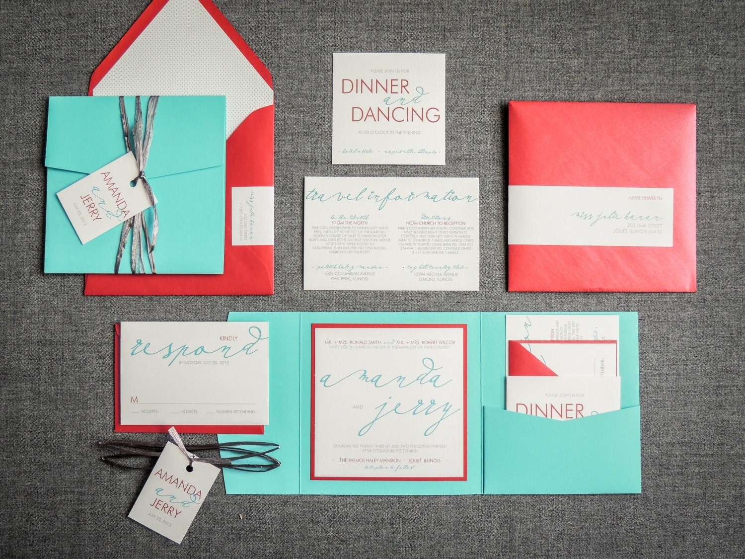 Wedding Invitations Turquoise: Turquoise And Red Beach Wedding Invitations By
