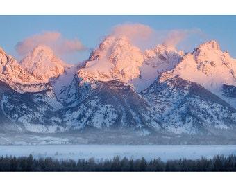 Grand Teton Winter Sunrise, Landscape Photography, Fine Art Photo Print, Nature, Snow, Pink, Rockies, Cold, Alpine, Climbing, Mountaineering