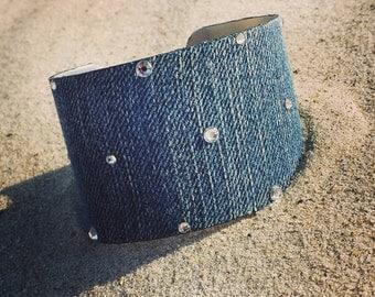 Denim Bracelet- denim jeans cuff Style