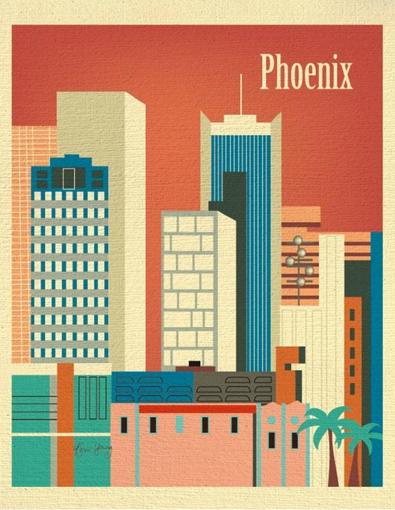 Phoenix Print, Arizona Art Print,  Phoenix Skyline, Phoenix Retro Poster, Phoenix Office Wall Art, Phoenix Art Vertical wall art - E8-O-PHE
