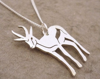 Sterling Silver African Springbok Pendant on chain